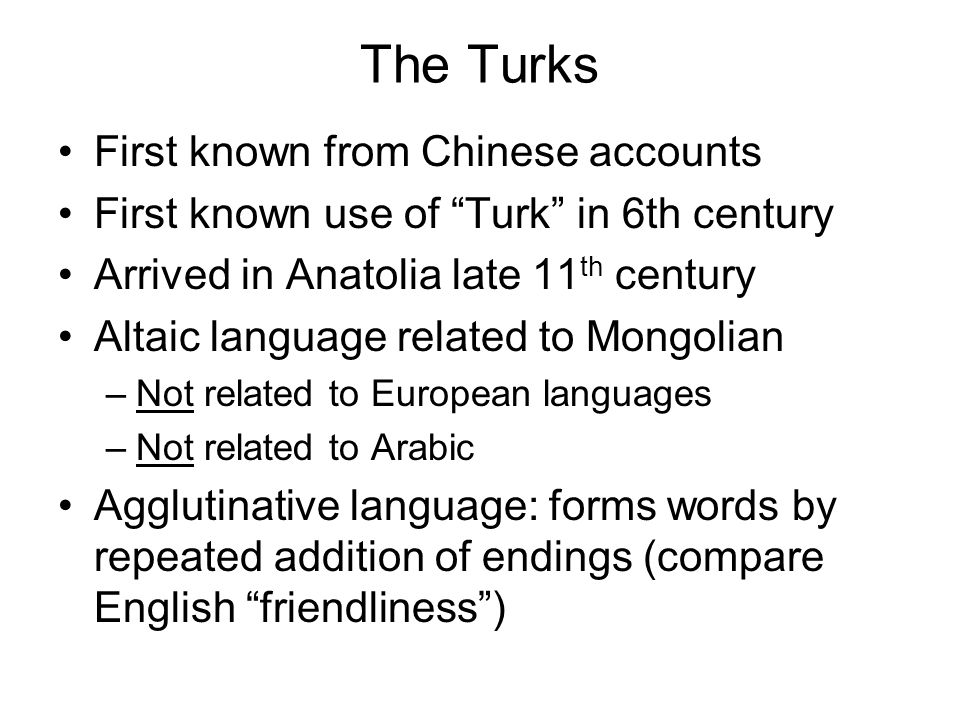The Turks First known from Chinese accounts