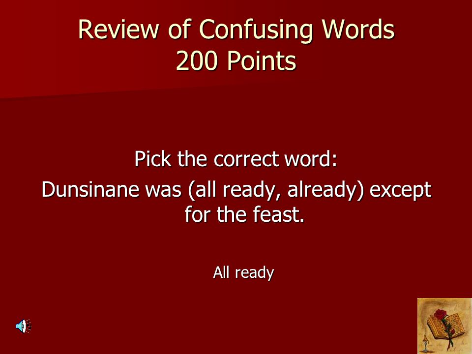 Review of Confusing Words 200 Points