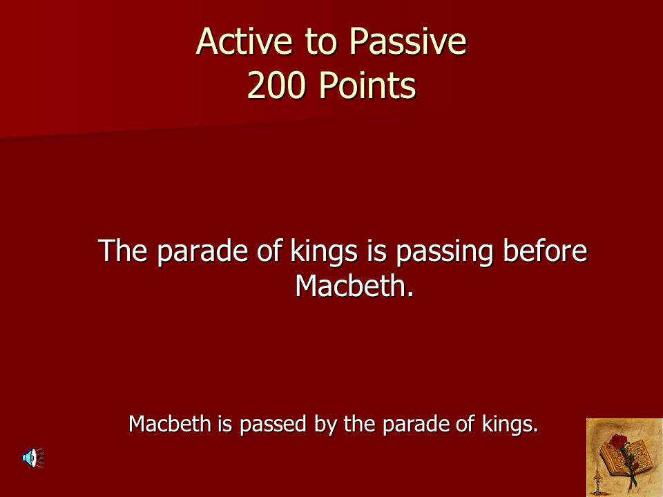 Active to Passive 200 Points