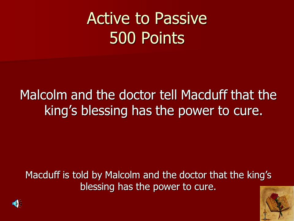 Active to Passive 500 Points
