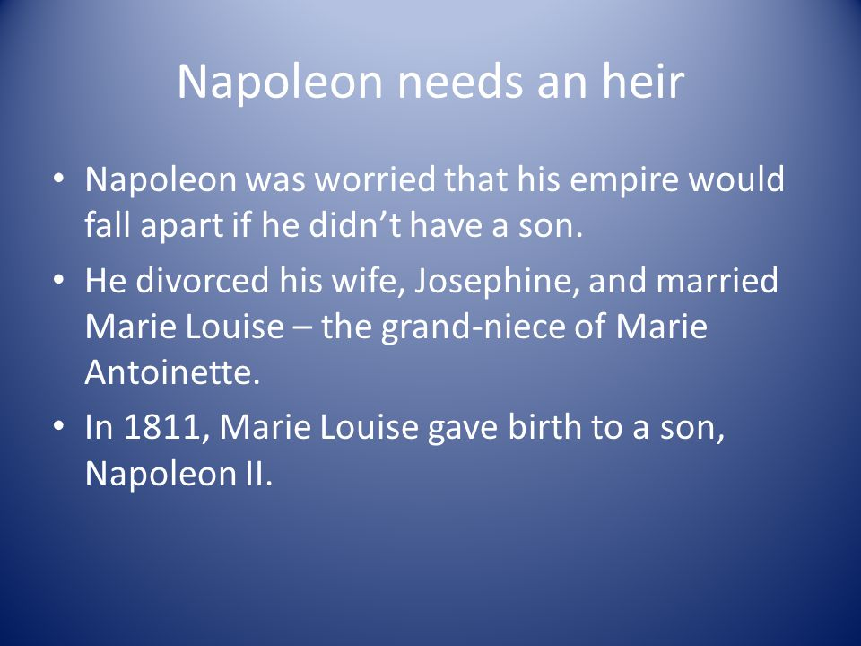 Napoleon needs an heir Napoleon was worried that his empire would fall apart if he didn't have a son.