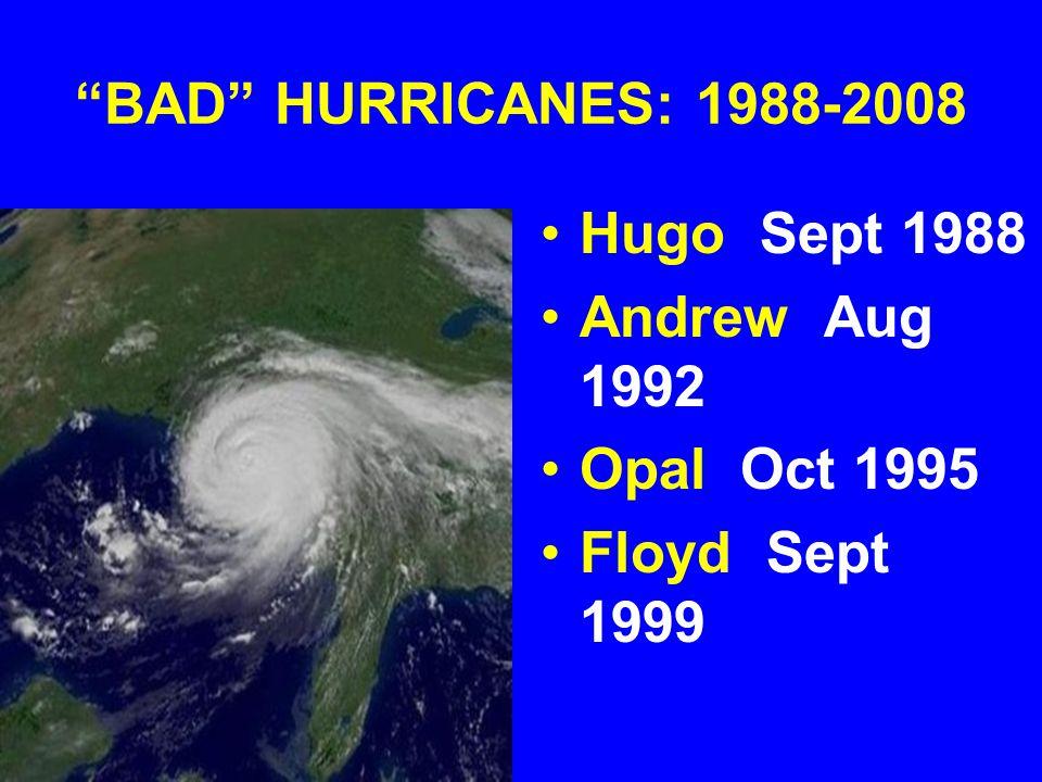 BAD HURRICANES: 1988-2008 Hugo Sept 1988 Andrew Aug 1992 Opal Oct 1995 Floyd Sept 1999
