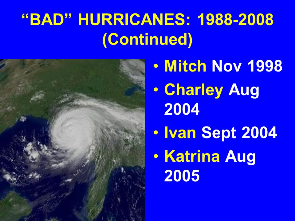 BAD HURRICANES: 1988-2008 (Continued)