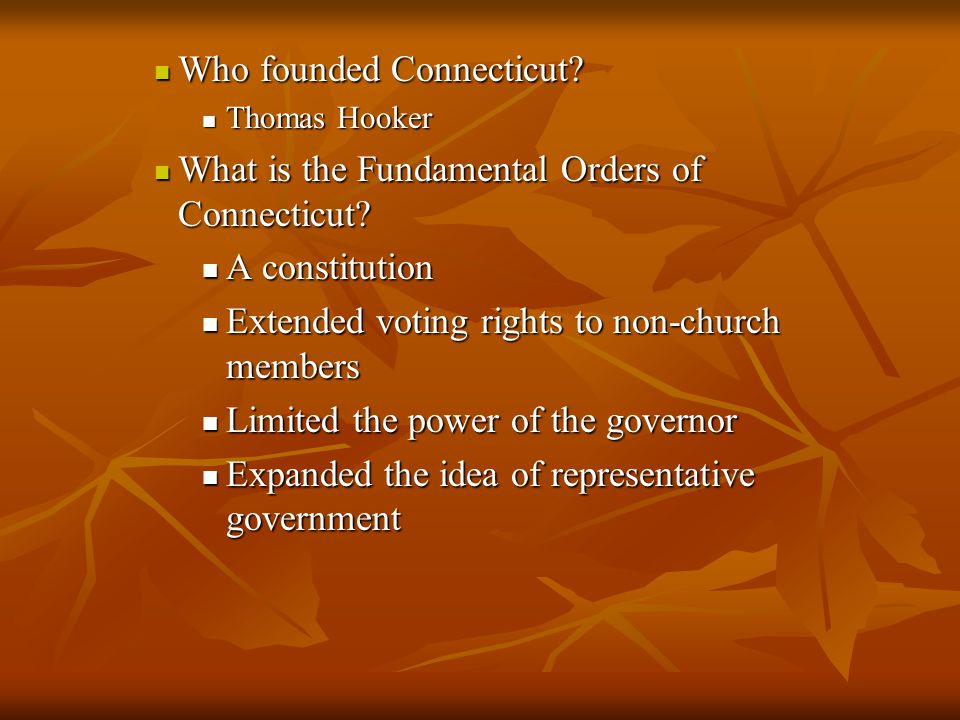 Who founded Connecticut