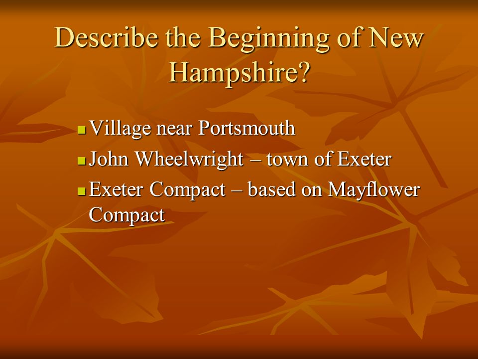 Describe the Beginning of New Hampshire