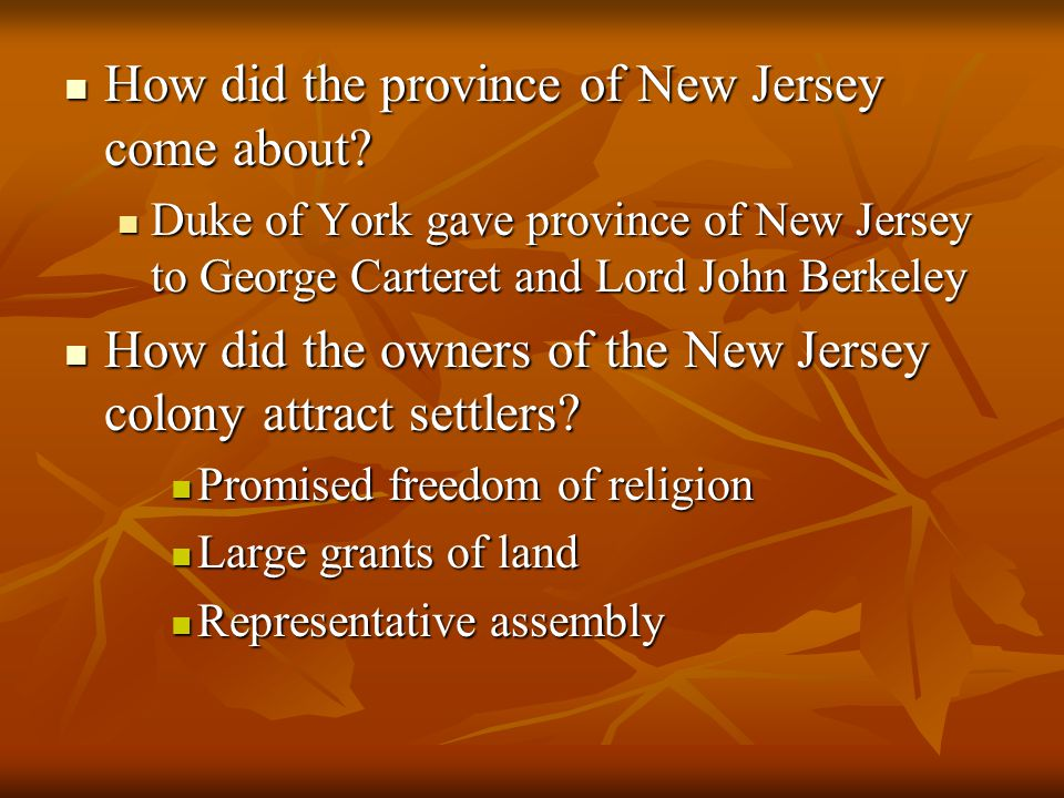 How did the province of New Jersey come about
