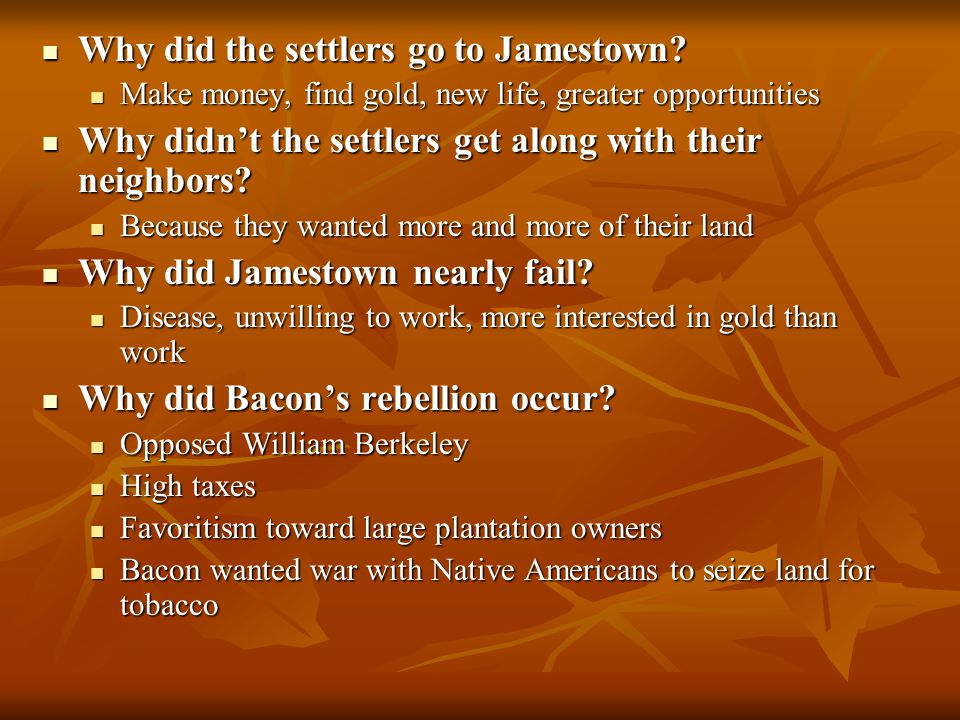 Why did the settlers go to Jamestown