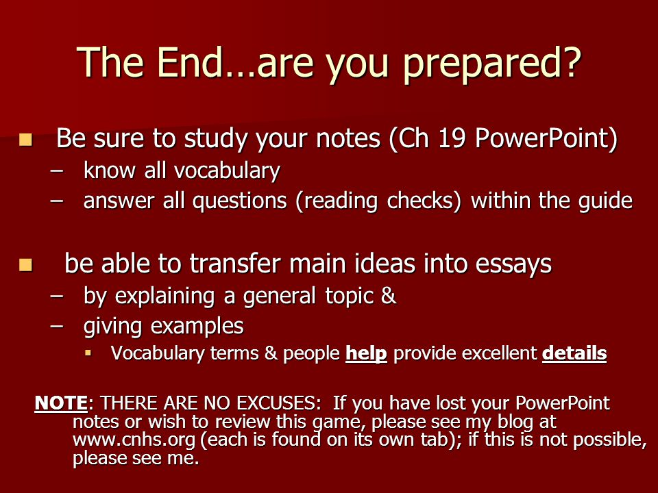 The End…are you prepared