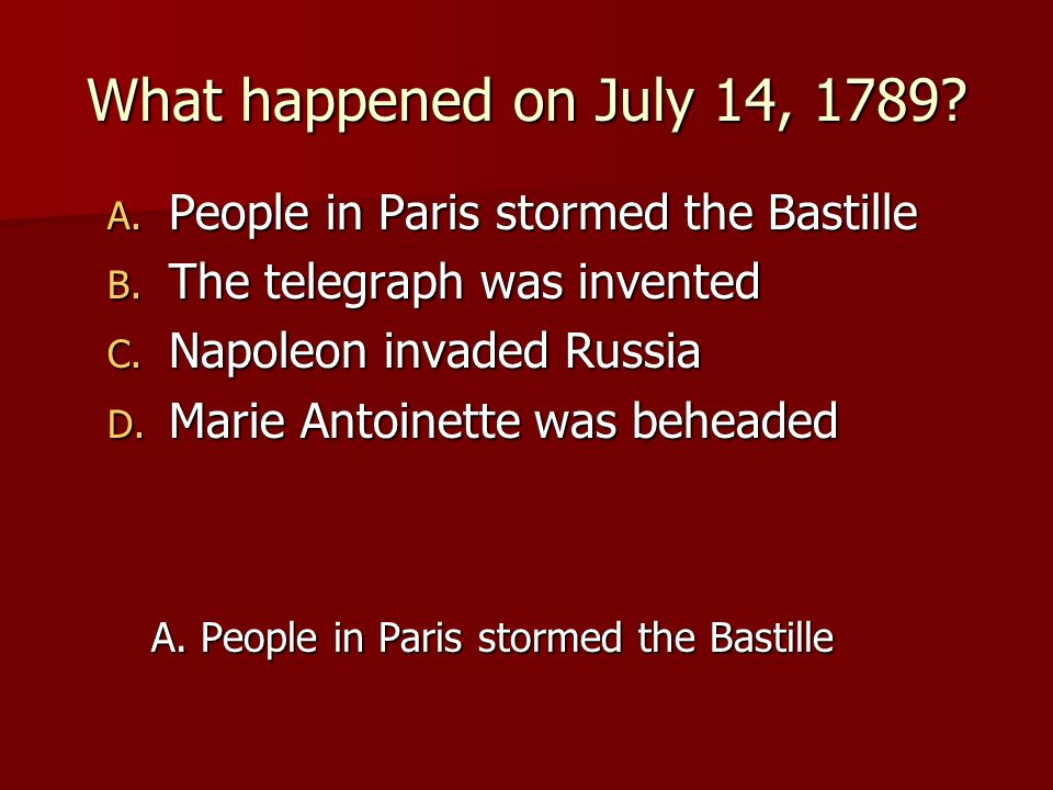 What happened on July 14, 1789 People in Paris stormed the Bastille