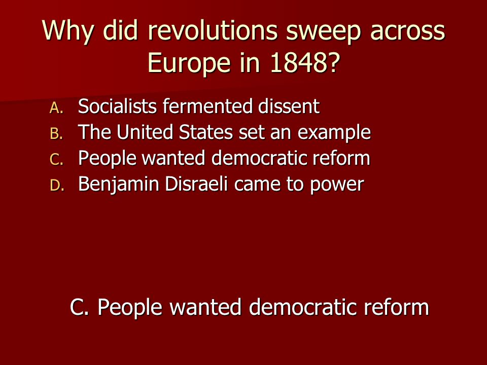 Why did revolutions sweep across Europe in 1848
