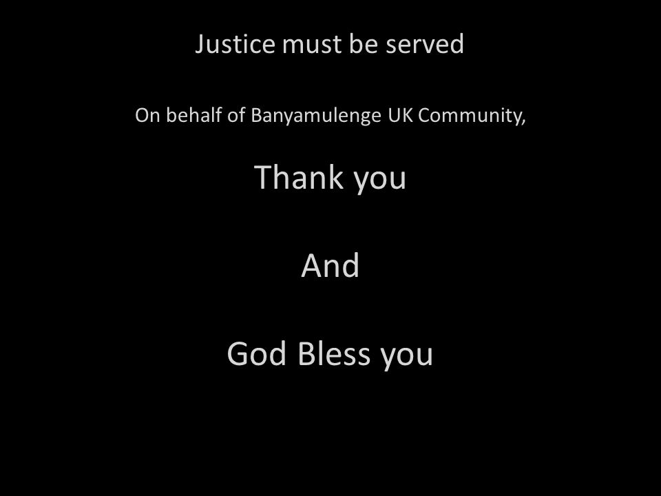On behalf of Banyamulenge UK Community,