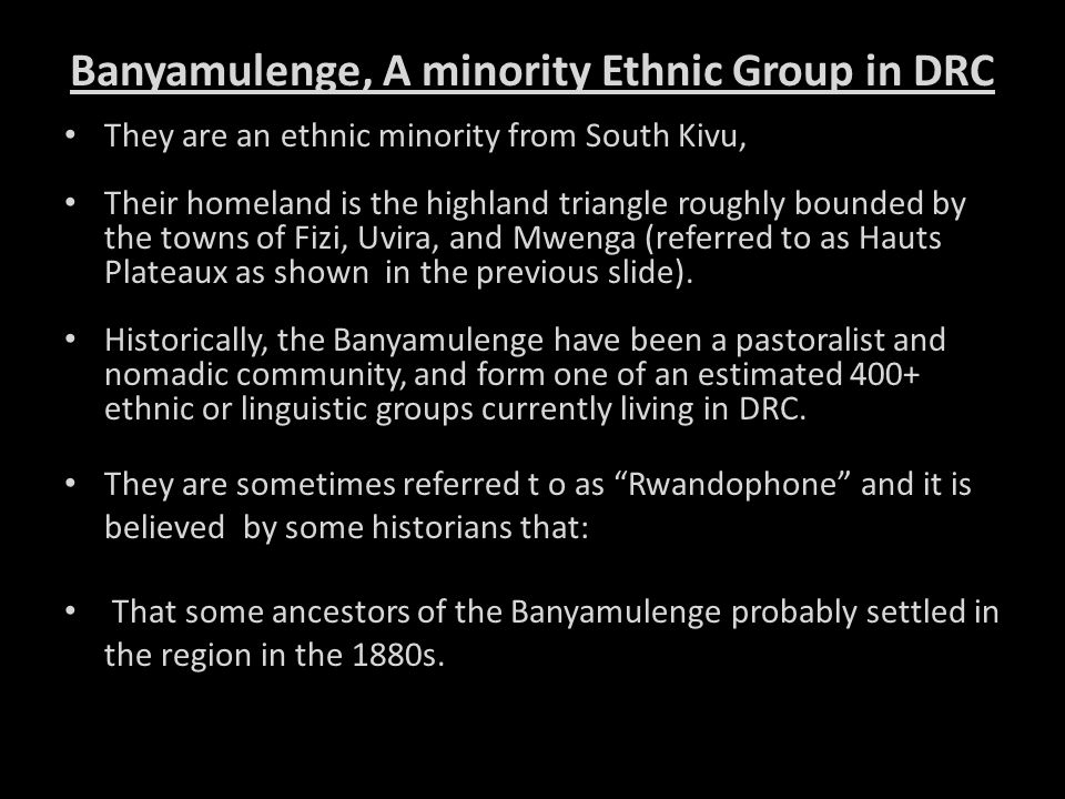 Banyamulenge, A minority Ethnic Group in DRC