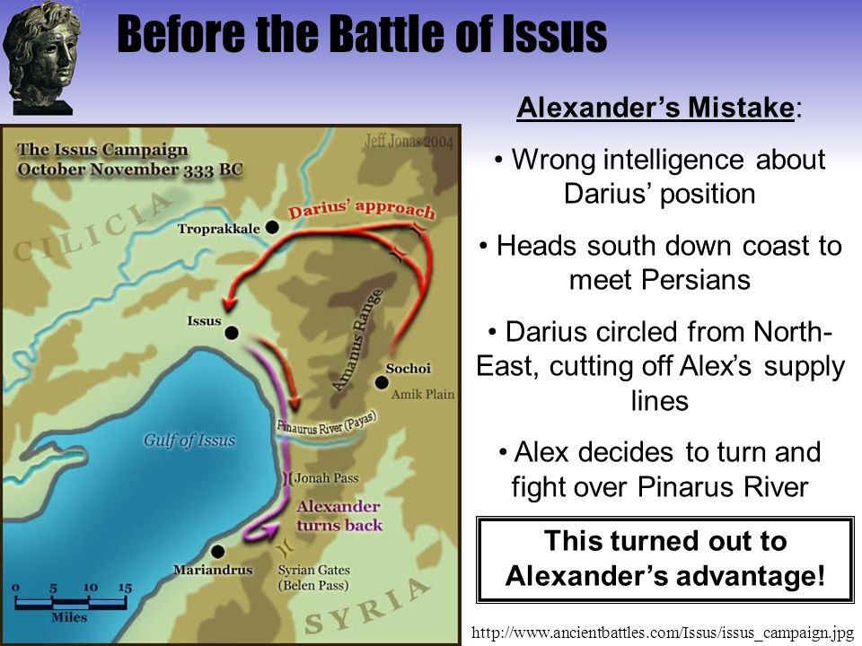 This turned out to Alexander's advantage!