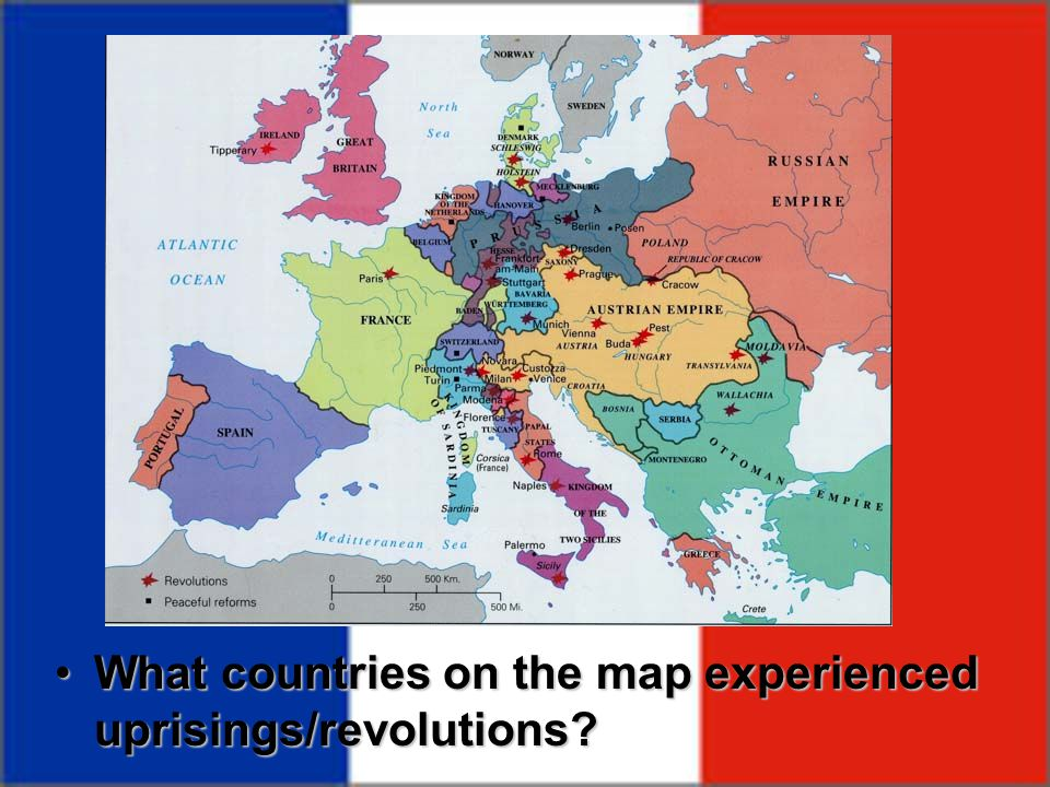 What countries on the map experienced uprisings/revolutions