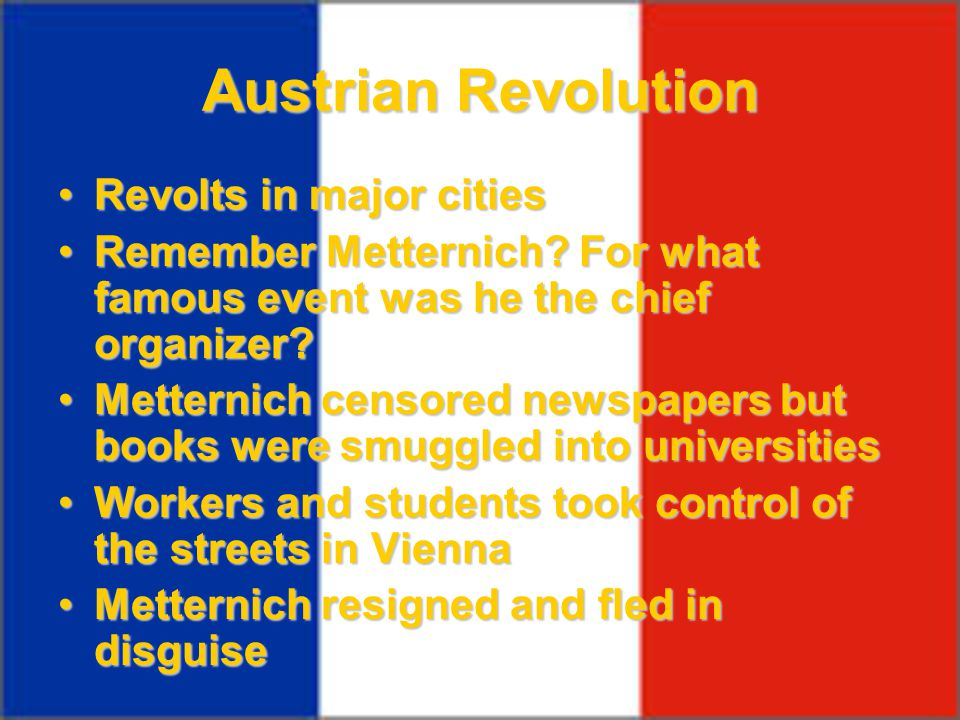 Austrian Revolution Revolts in major cities