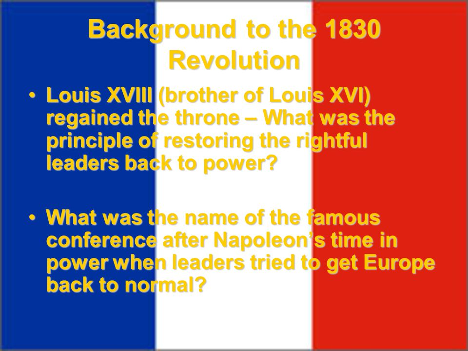 Background to the 1830 Revolution