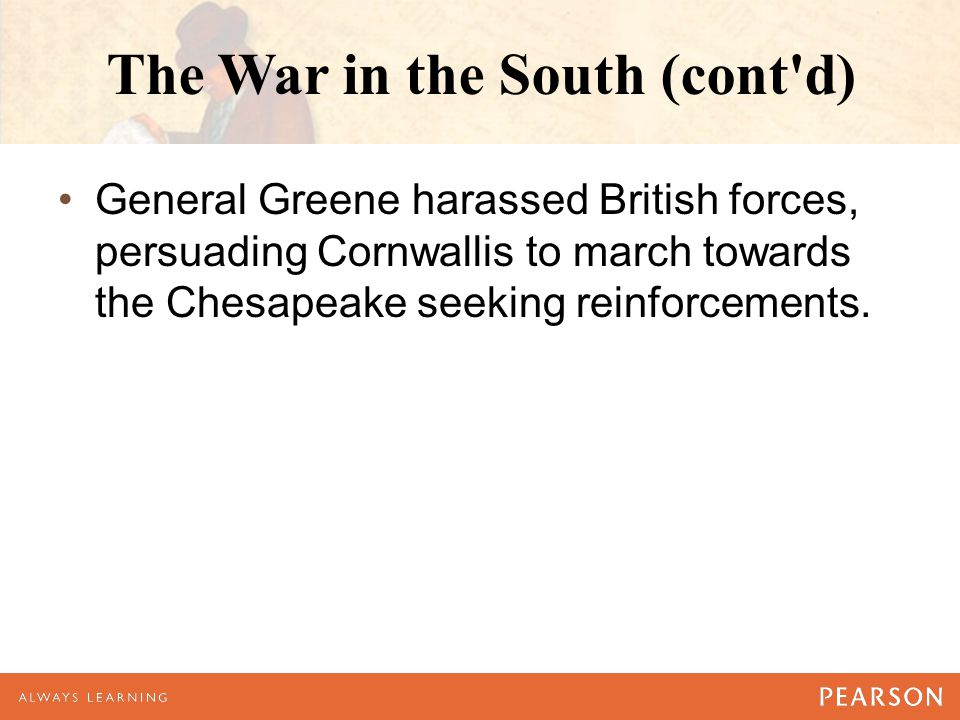The War in the South (cont d)