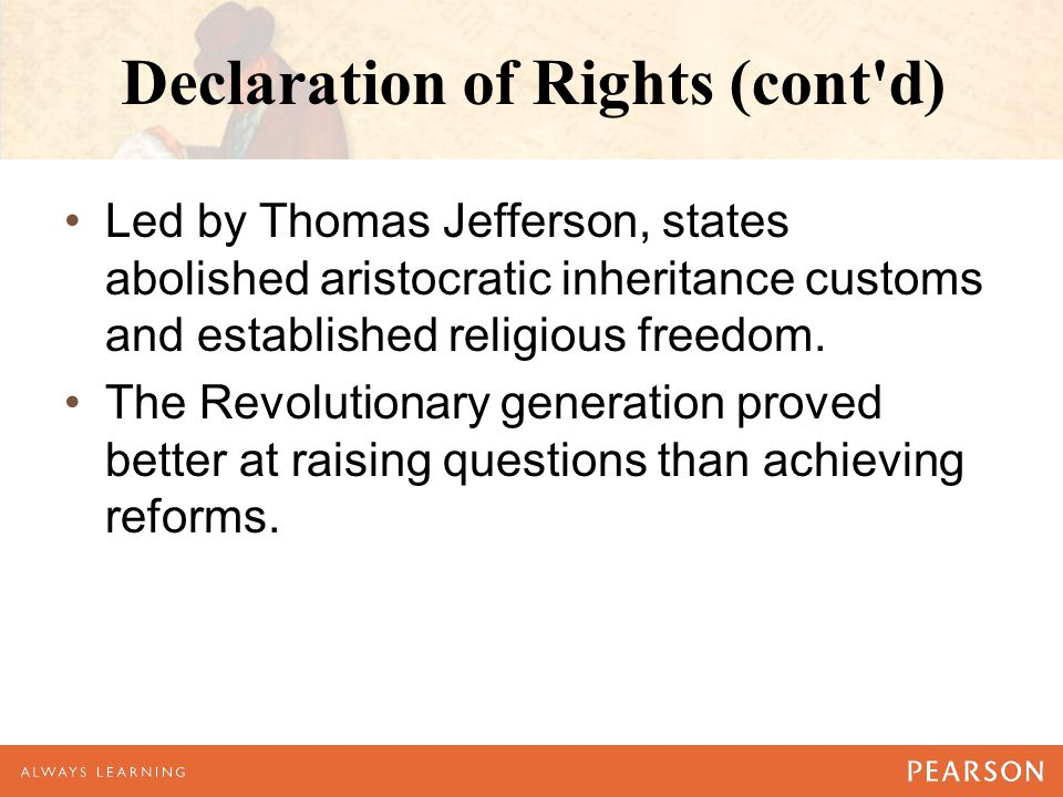 Declaration of Rights (cont d)