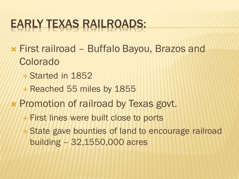 Early Texas Railroads: