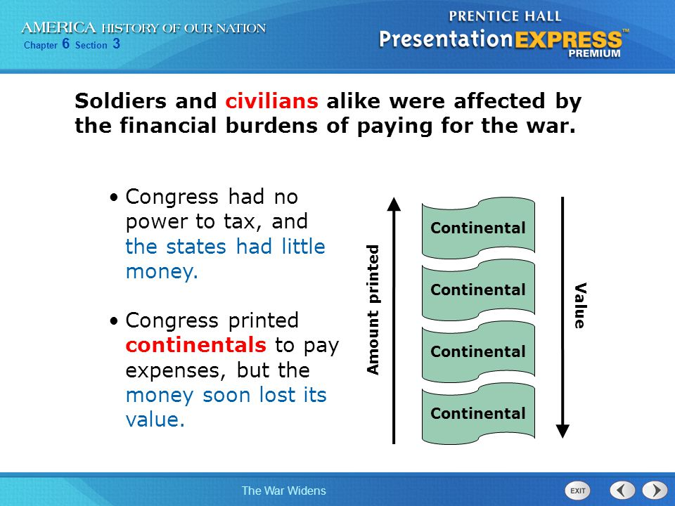 Congress had no power to tax, and the states had little money.