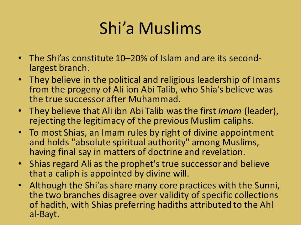 Shi'a Muslims The Shi'as constitute 10–20% of Islam and are its second-largest branch.