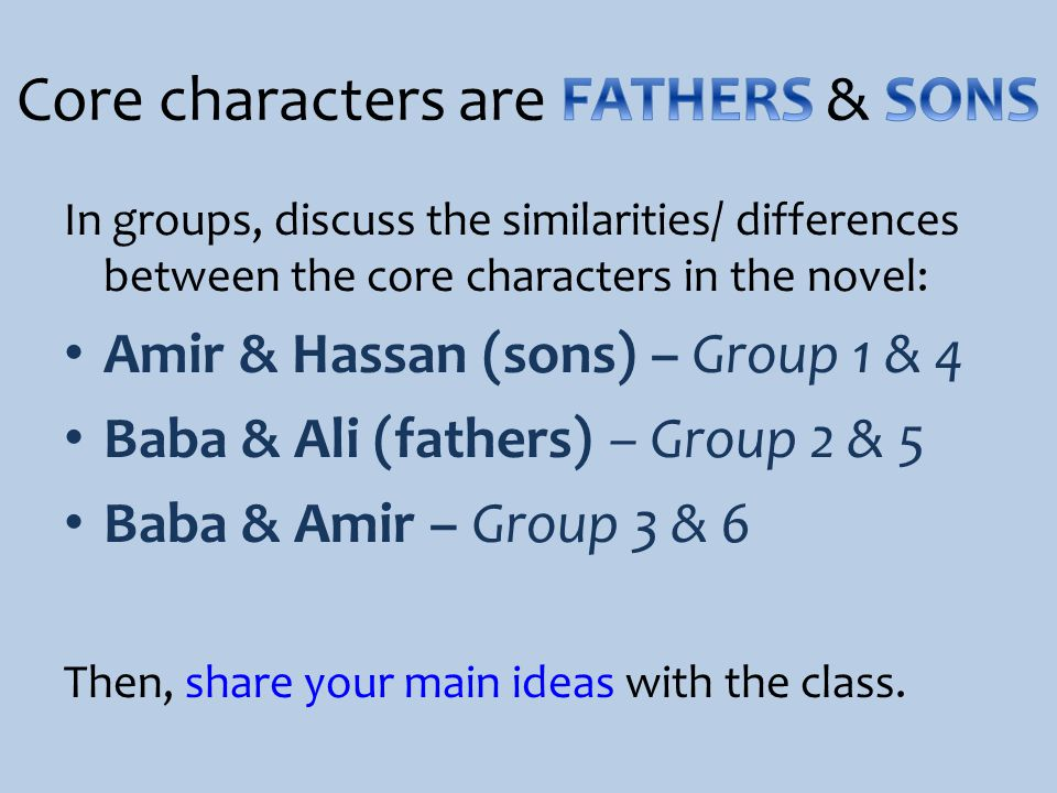 Core characters are FATHERS & SONS