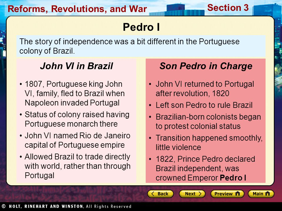 Pedro I John VI in Brazil Son Pedro in Charge