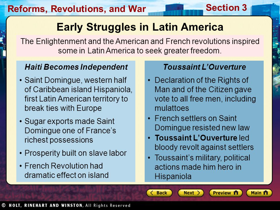 Early Struggles in Latin America