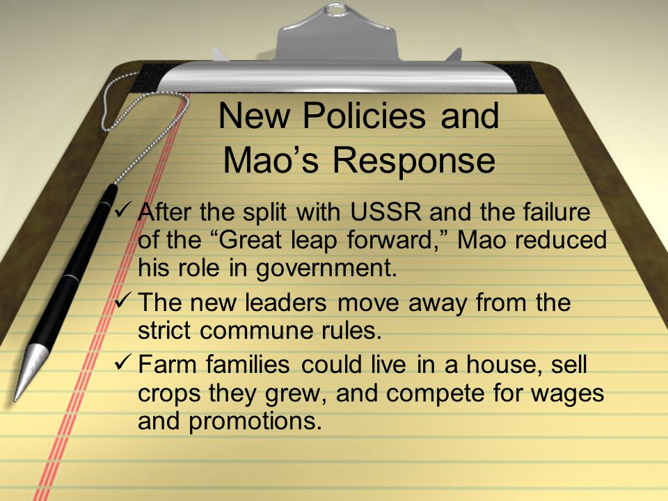 New Policies and Mao's Response