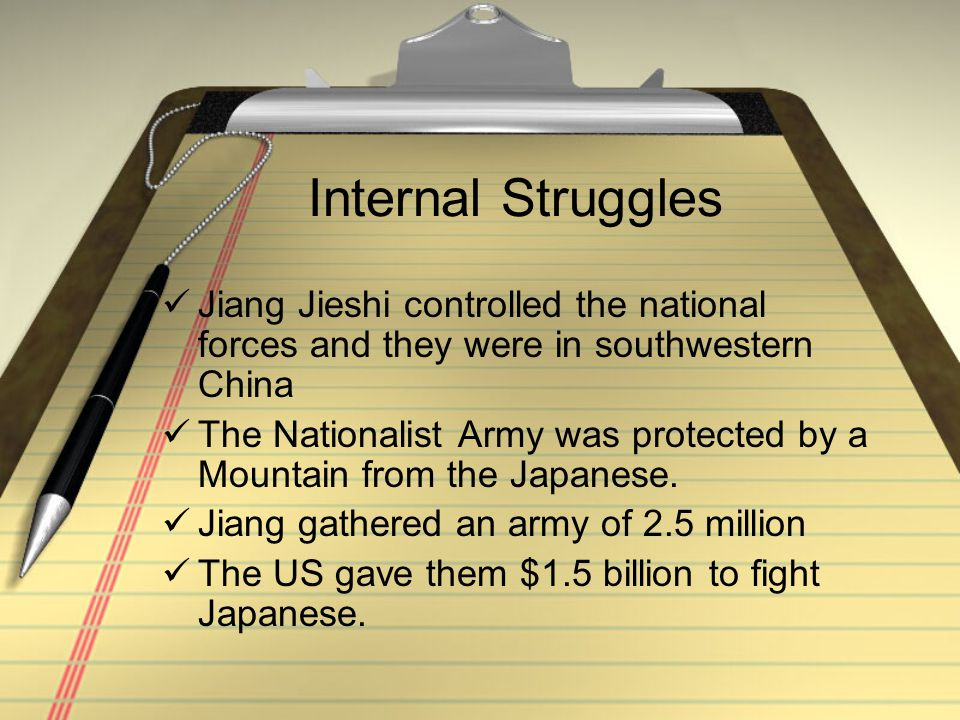 Internal Struggles Jiang Jieshi controlled the national forces and they were in southwestern China.