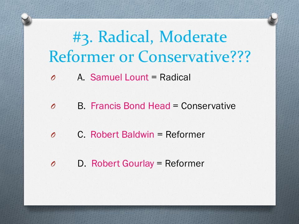 #3. Radical, Moderate Reformer or Conservative