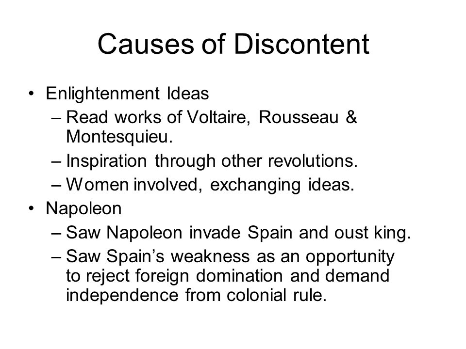 Causes of Discontent Enlightenment Ideas