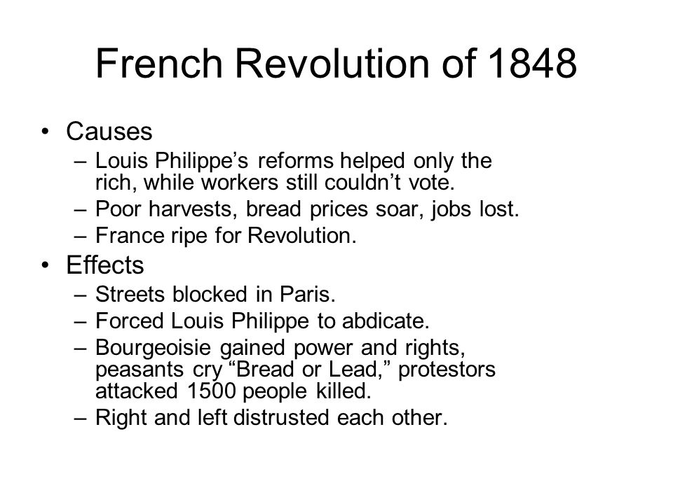 French Revolution of 1848 Causes Effects