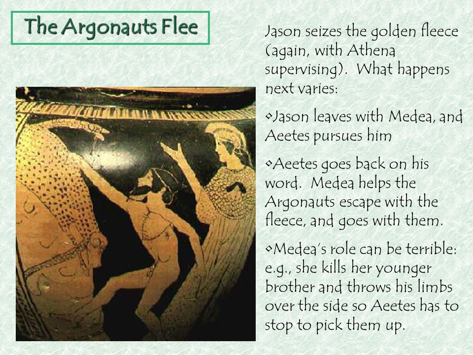 The Argonauts Flee Jason seizes the golden fleece (again, with Athena supervising). What happens next varies: