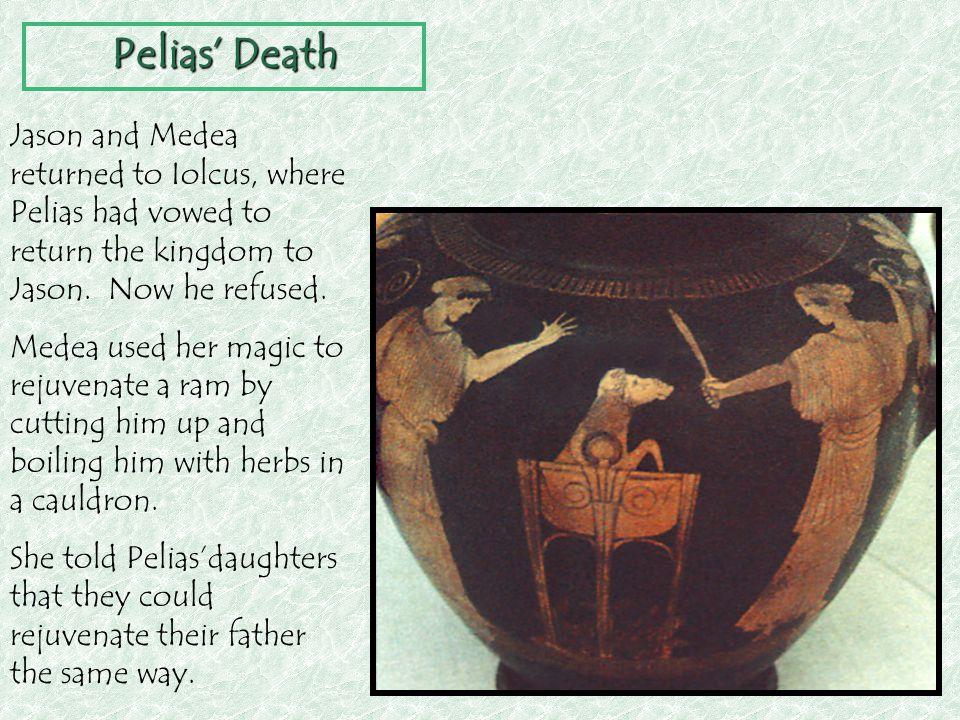 Pelias' Death Jason and Medea returned to Iolcus, where Pelias had vowed to return the kingdom to Jason. Now he refused.