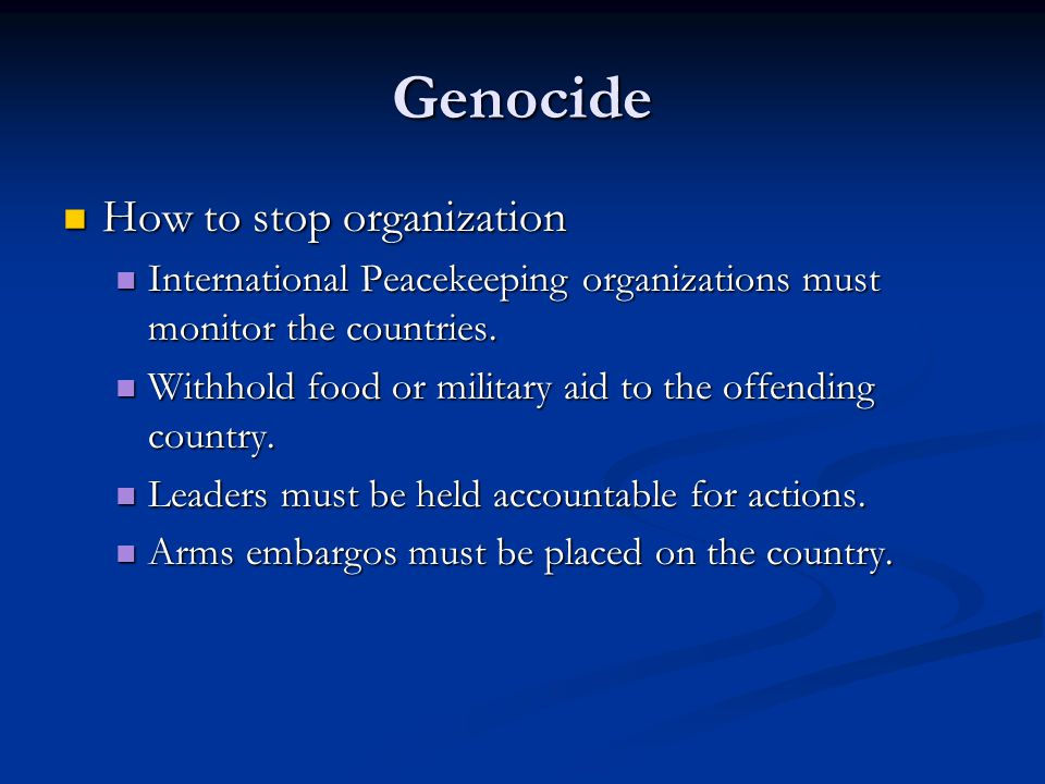 Genocide How to stop organization
