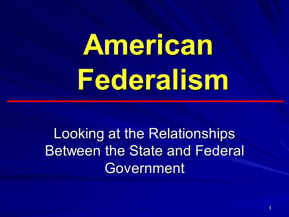 Looking at the Relationships Between the State and Federal Government