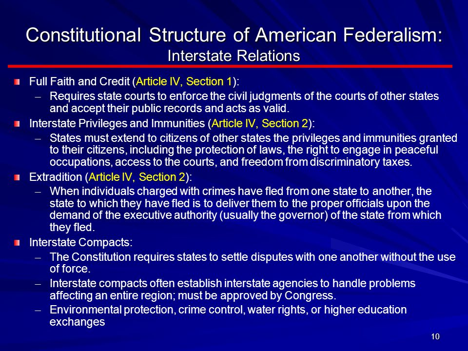 Constitutional Structure of American Federalism: Interstate Relations