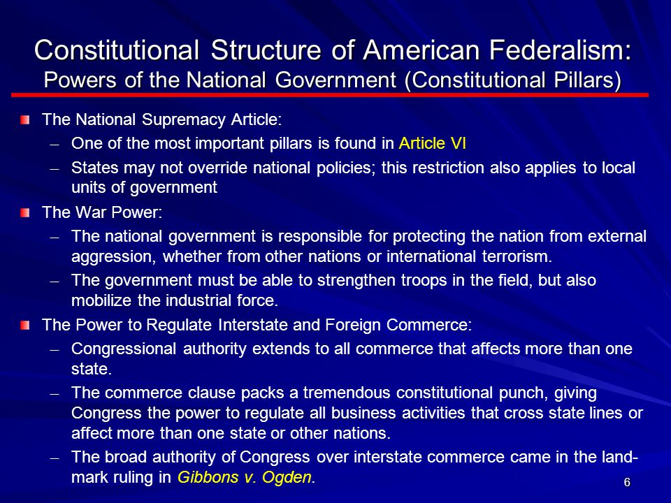 Constitutional Structure of American Federalism: Powers of the National Government (Constitutional Pillars)