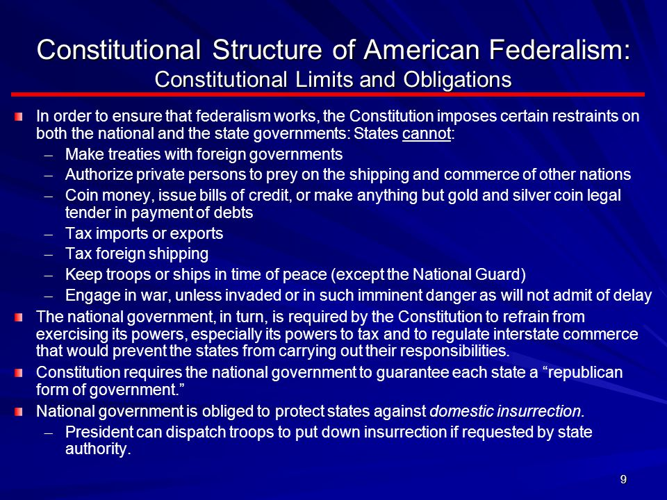 Constitutional Structure of American Federalism: Constitutional Limits and Obligations