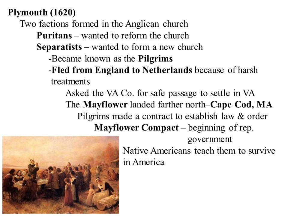 Plymouth (1620) Two factions formed in the Anglican church. Puritans – wanted to reform the church.