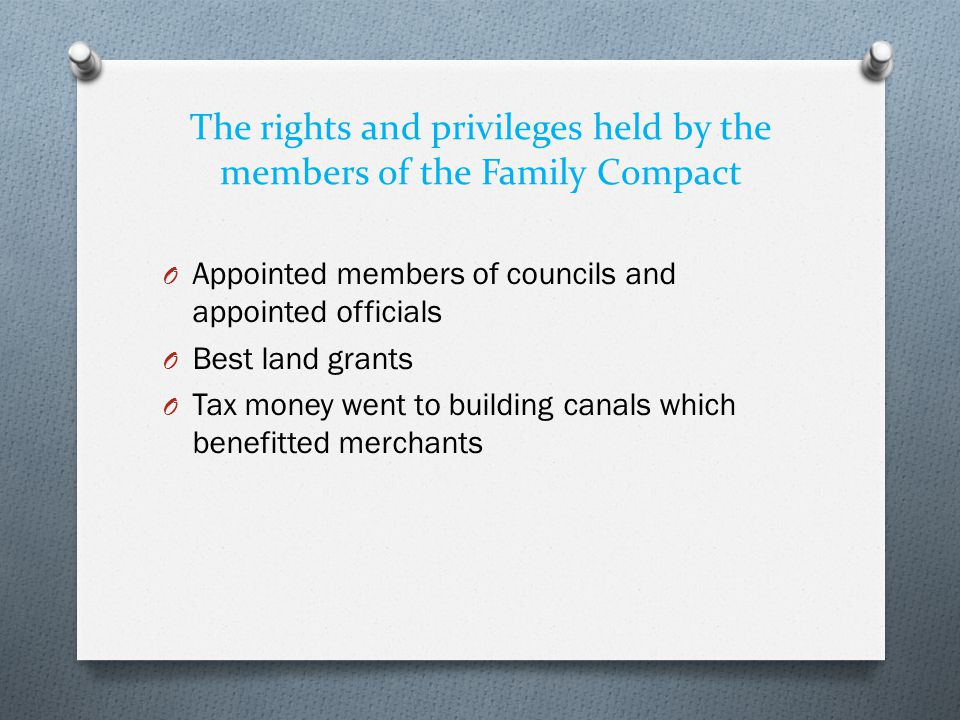 The rights and privileges held by the members of the Family Compact
