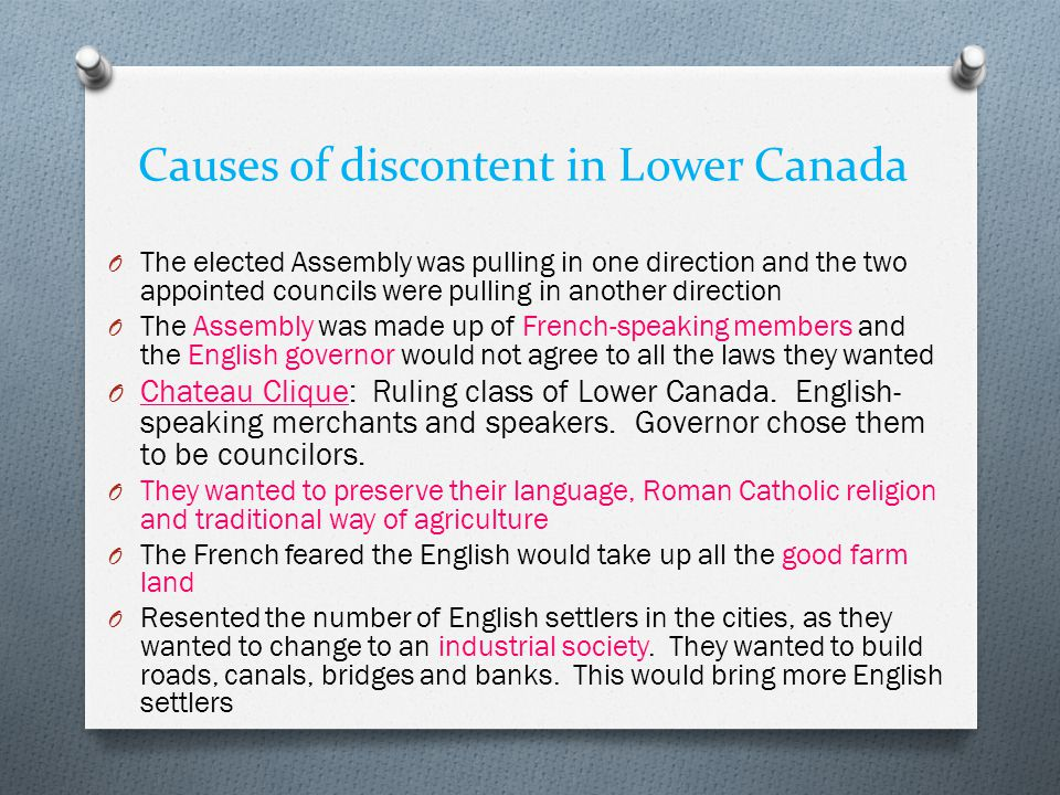 Causes of discontent in Lower Canada