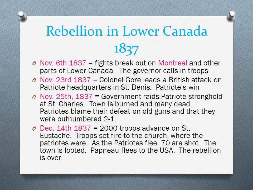 Rebellion in Lower Canada 1837