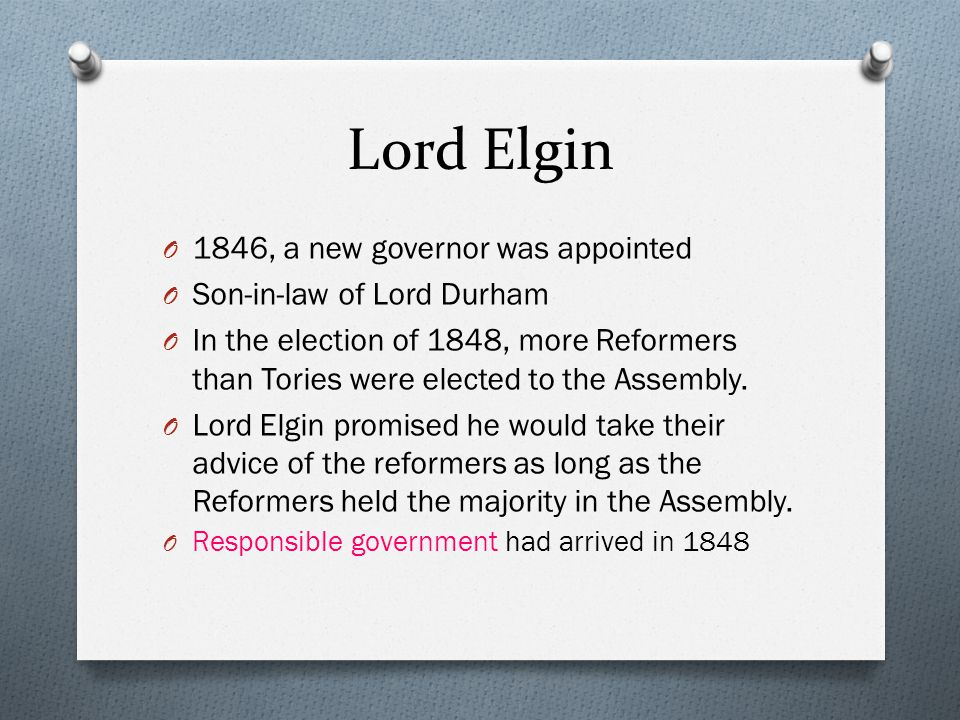 Lord Elgin 1846, a new governor was appointed