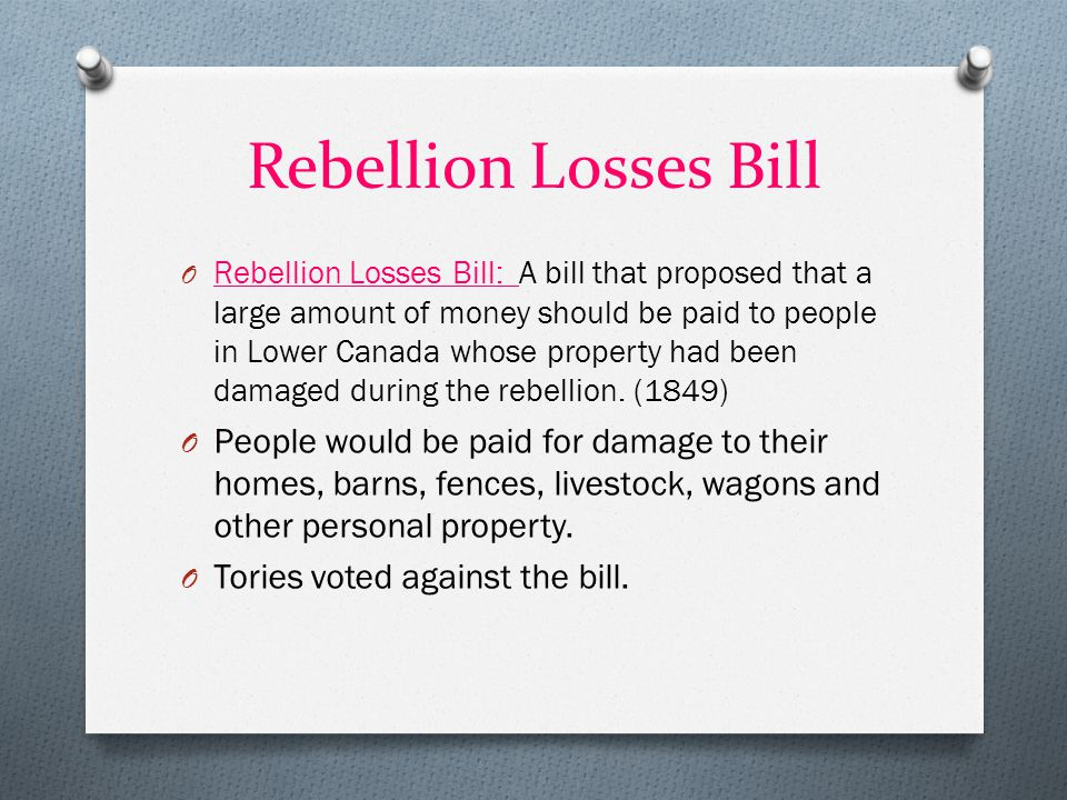 Rebellion Losses Bill