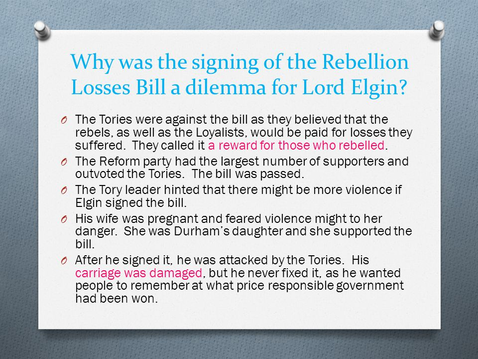 Why was the signing of the Rebellion Losses Bill a dilemma for Lord Elgin