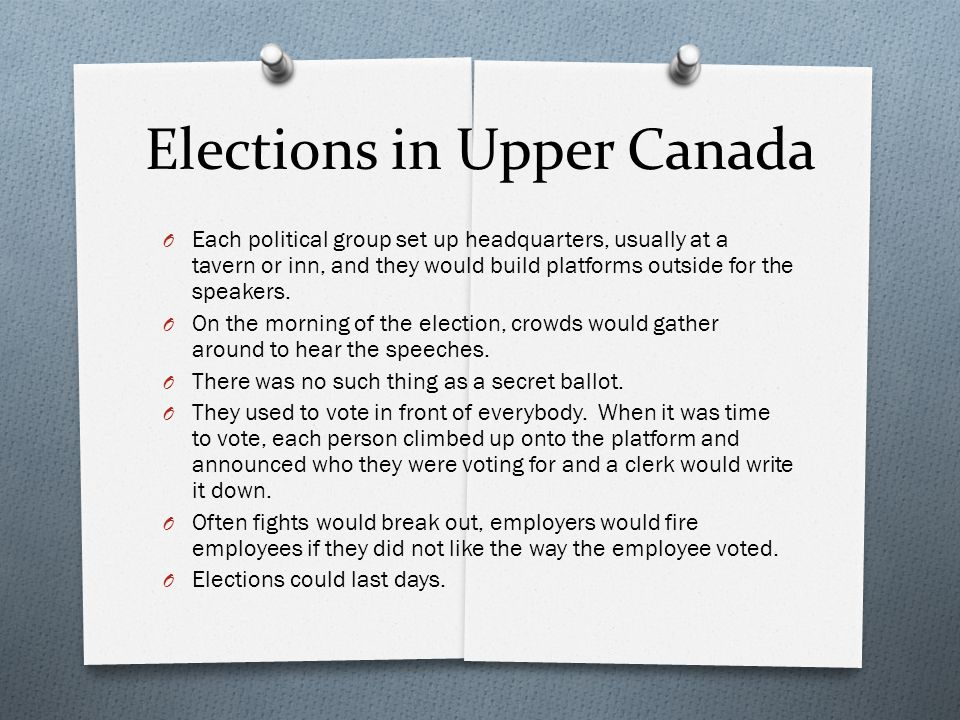 Elections in Upper Canada