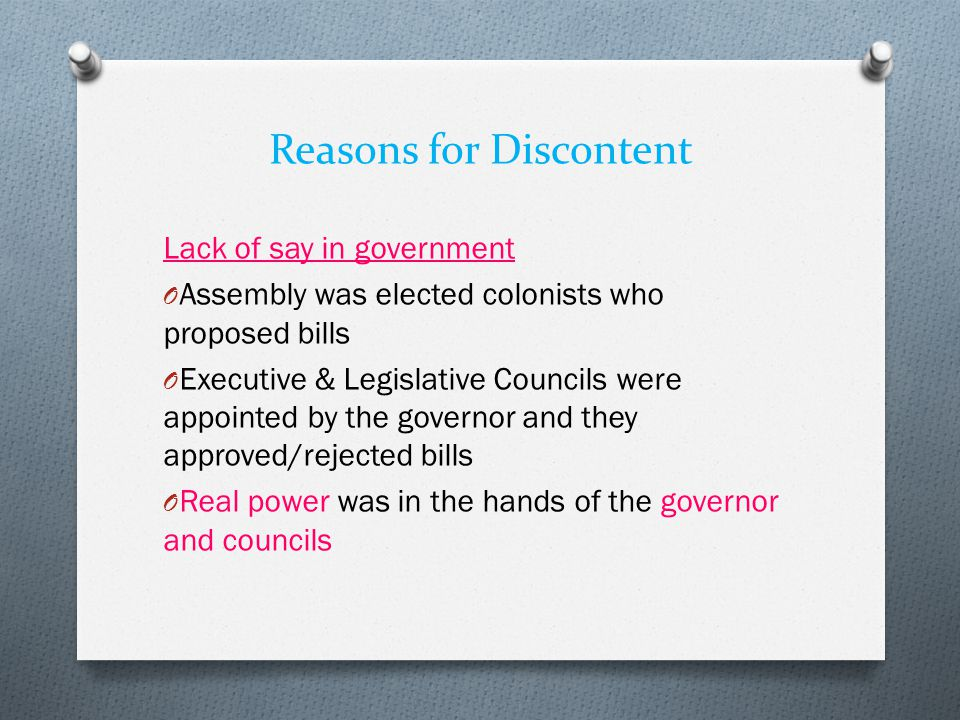Reasons for Discontent
