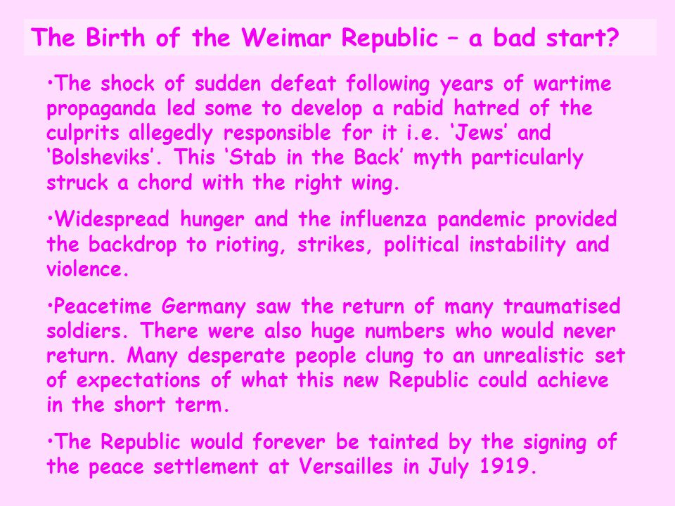 The Birth of the Weimar Republic – a bad start